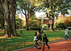 Campus Photo with Trees and Students