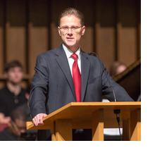 President Dan Martin speaking at Veteran's Day Chapel