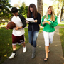 Three students on campus
