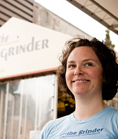 Kristin Swanson Wilhite '94 in The Grinder, a popular neighborhood espresso stop she owned and ran for 15 years.