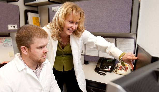 Dr. Lustyk works with a Graduate Student