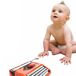 Baby with typewriter