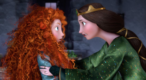 A mother/daughter movie: Merida and her mother, Queen Elinor, clash in Brave. ©2012 Disney/Pixar. All Rights Reserved.