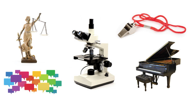 Microscope, piano, whistle, scales of justice