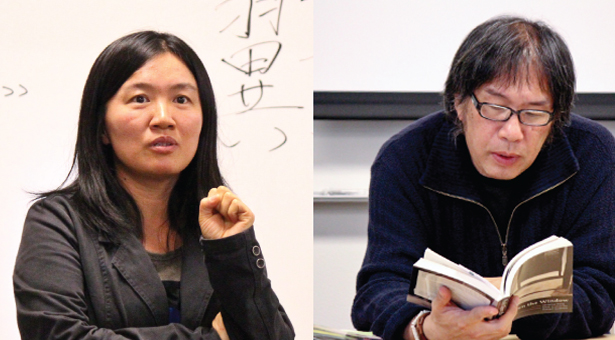 Left: Poet Zhou Zan, and right: Xi Chuan,