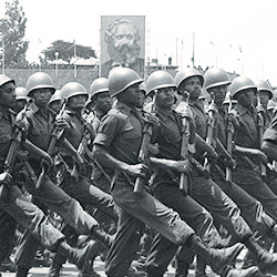 Soldiers march in a parade