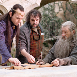 Peter Jackson directing Hugo Weaving and Ian McKellen