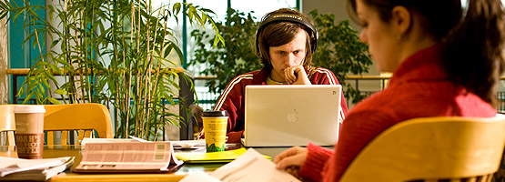SPU students study in the library.