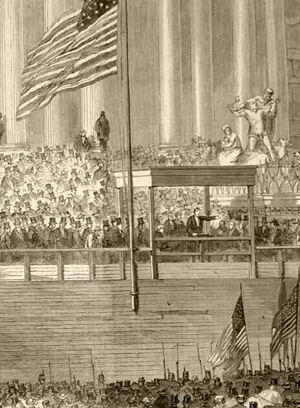 An illustration of President Abraham Lincoln's first inaugural address in 1861.