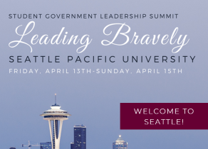 """Seattle skyline with text """"Leading Bravely"""""""