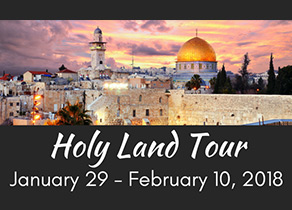 Logo for Holy Land Tour, showing a photo of Israel