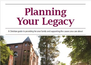 "A campus building with the text ""Planning your Legacy"" above"