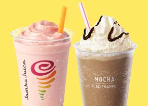 Jamba Juice smoothie and an iced mocha