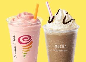 Jamba Juice smoothie and an iced mocha
