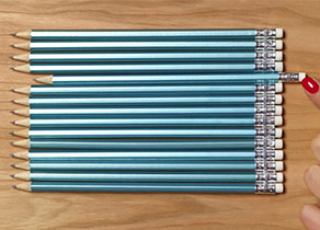 Pencils lined up
