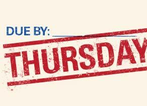 Thursday deadline