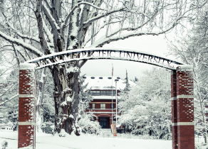 Campus in the snow
