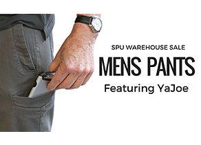 "Picture showing a man putting a phone in pocket, with text saying ""SPU Warehouse sale, Mens pants, featuring YaJoe""."
