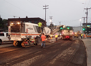 Image showing the construction work at Nickerson: a street filled with big trucks