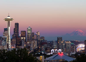 seattle skyline and mt. rainier