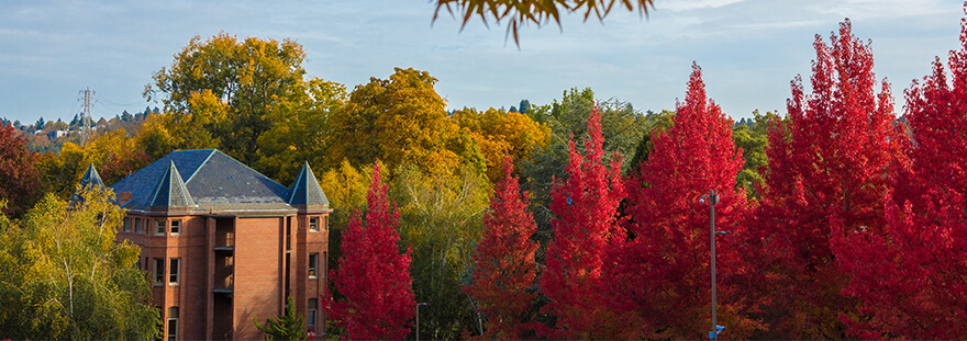 Alexander Hall in the fall with bright red trees