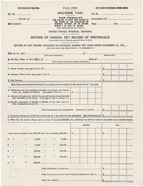 An old document showing the first income tax form