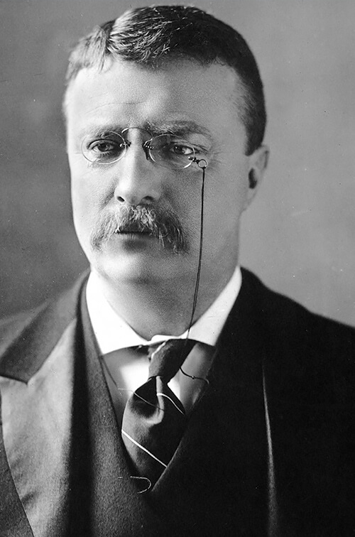 A black and white headshot of Theodor Roosevelt