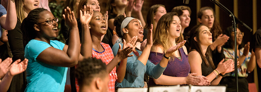students singing in choir at chapel