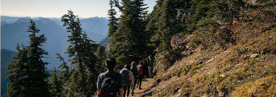 SPU students on a hike in the mountains