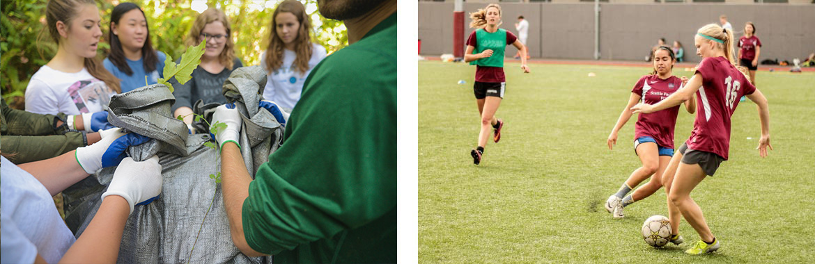 Left images shows students holding a bag of leafs during city quest, and right photo shows women playing soccer.