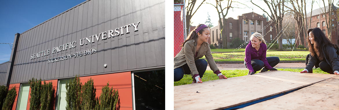 Right image showing the SPU Nickerson studio building, and right image showing three women lifting a floor for the tent city