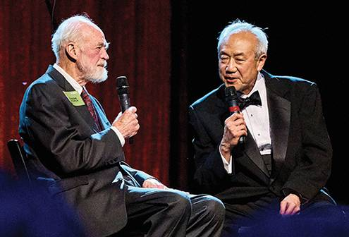 Skip Li '66 (right) interviews Eugene Peterson '54, author of The Message, during the gala.