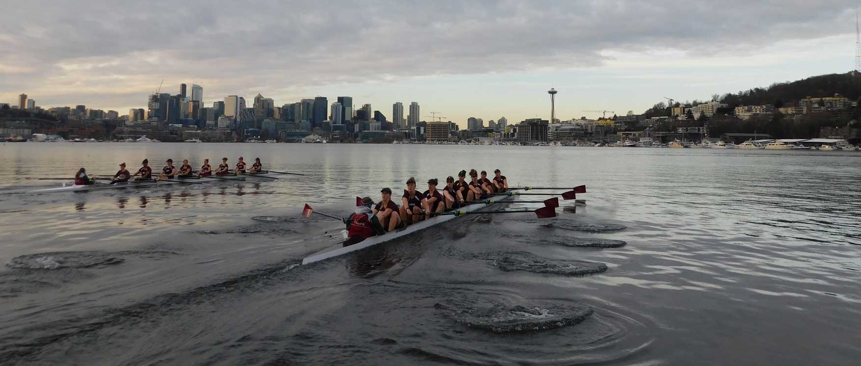 crew team row on lake union