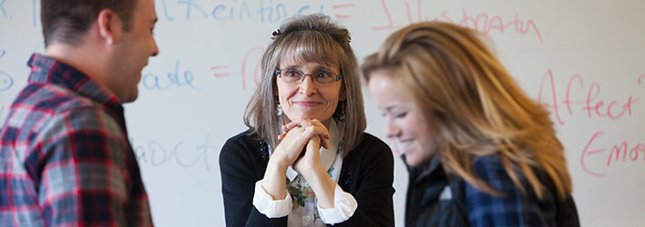 Professor Lorelle Jabs teaching interpersonal communication skills to students.