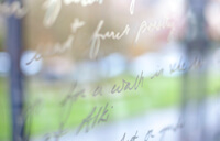 Writing on the window of an English classroom