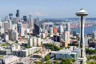 A view of the Space Needle and a backdrop of downtown Seattle