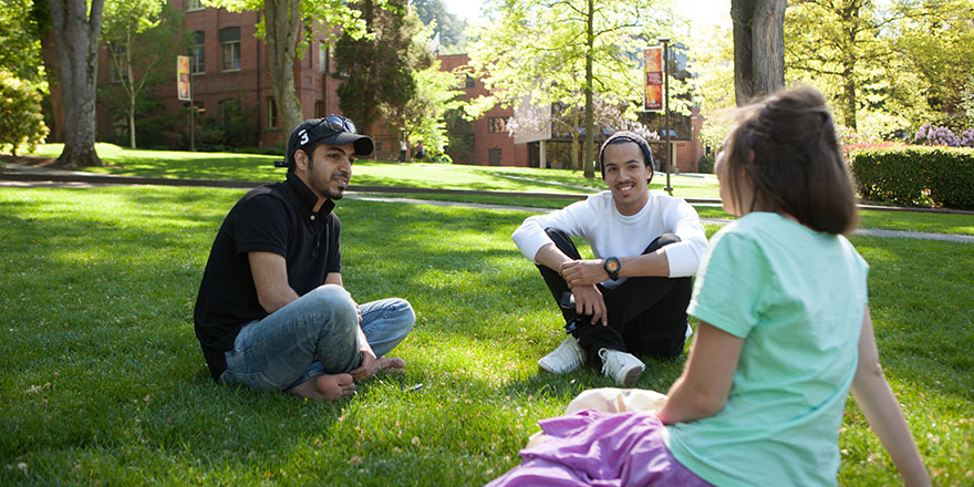 SPU students hang out in Tiffany Loop on a sunny day