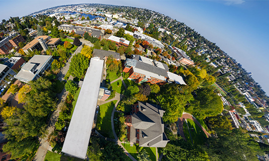 A 360 view of the Seattle Pacific University campus.