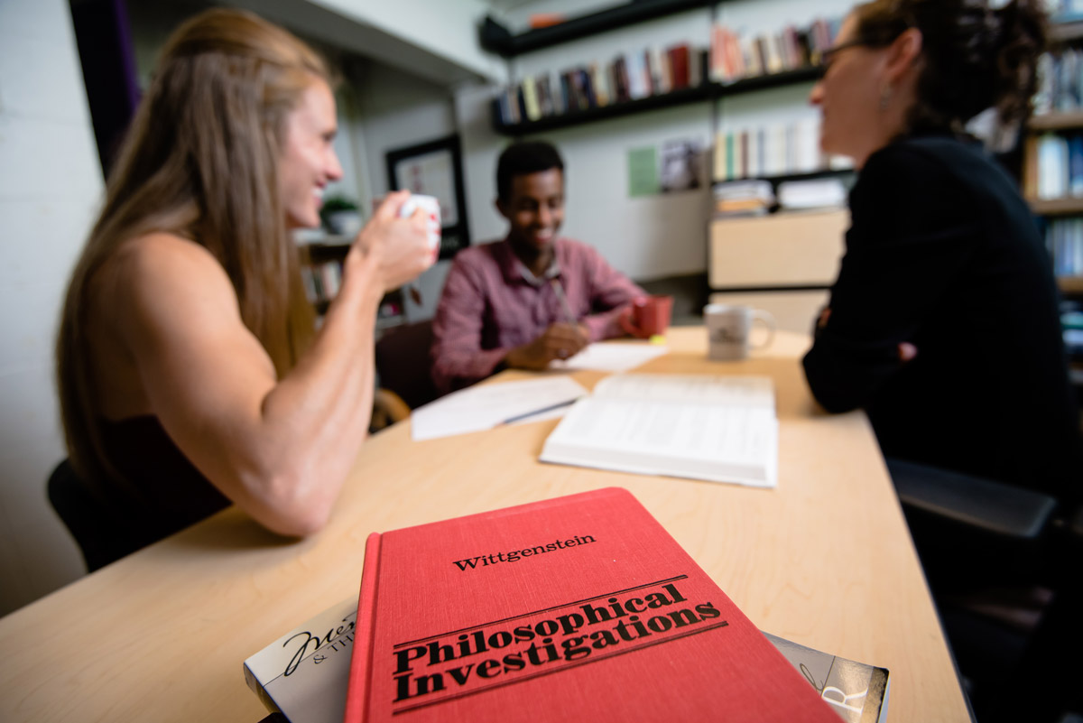 Associate Professor of Philosophy Rebekah Rice meets with philosophy majors