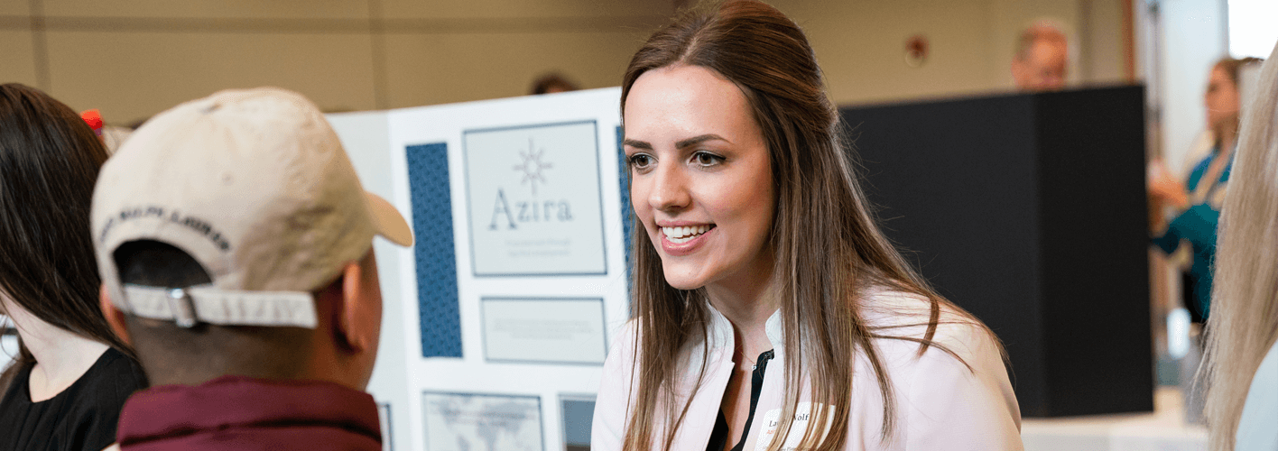 Student presenting plan at 2018 Social Venture Plan Competition