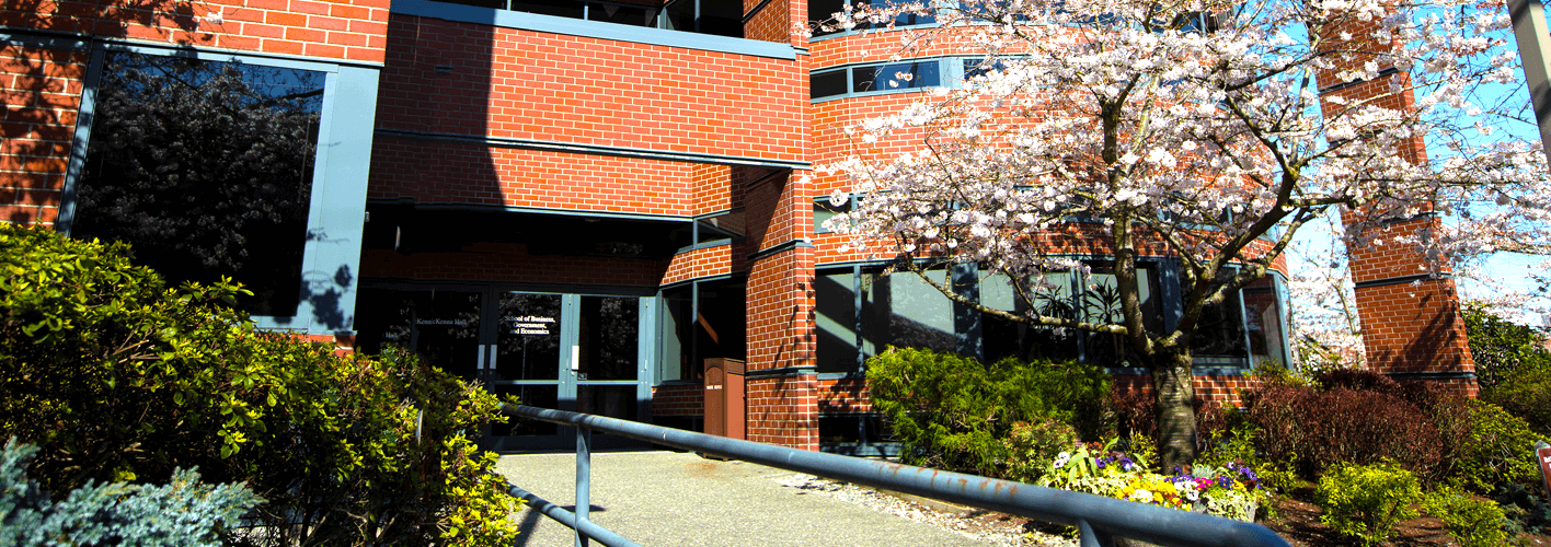 McKenna Hall entrance in Spring