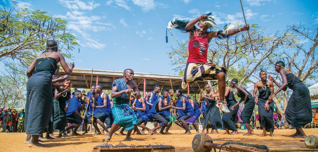 Members of the Juhudi group from Matemwe, a coastal village in northeastern Tanzania, perform