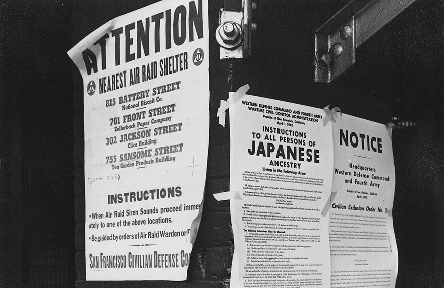 A photograph of notices announcing the Japanese internment during WWII