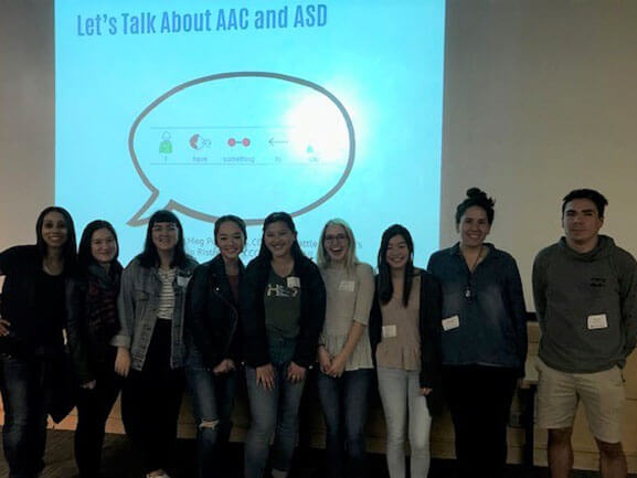 SOE faculty Krystle Jalalian-Chursky and her Severe Disabilities class at a lecture held by Seattle Children's Hospital: Child Development and Parenting Autism 200 series