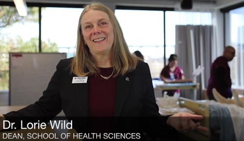 Screenshot of Dr. Lori Wild from the tour of the new SHS building video