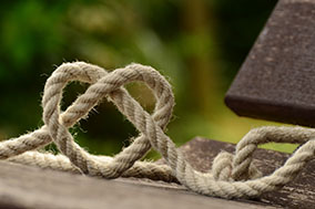 A rope coiled in the shape of a heart