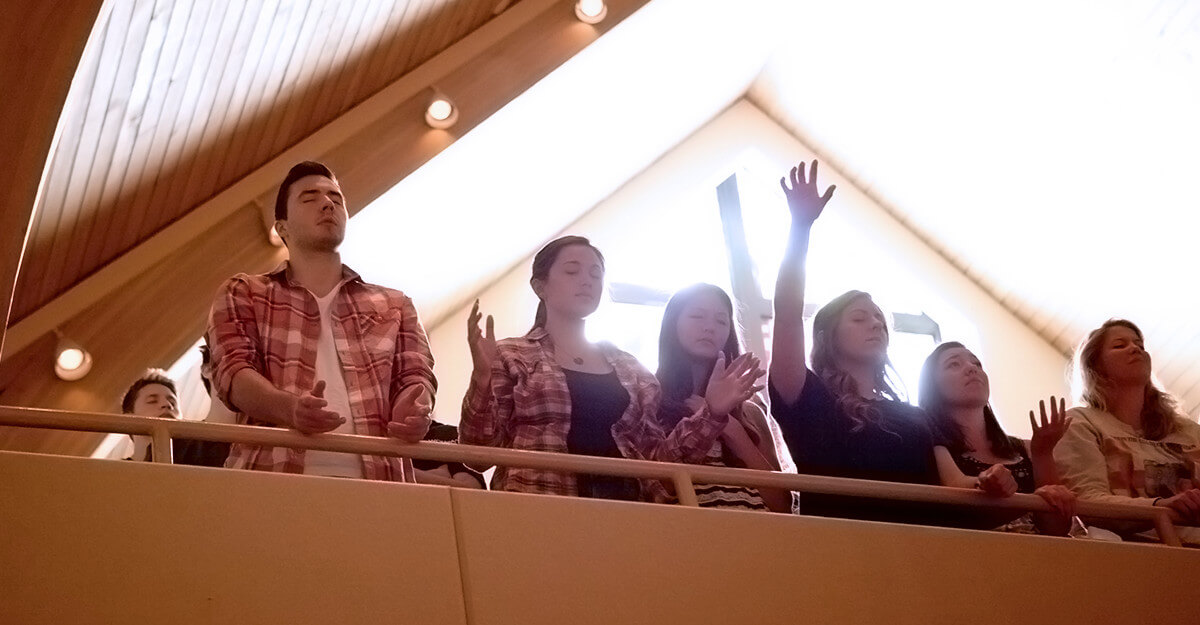 Young adults at worship