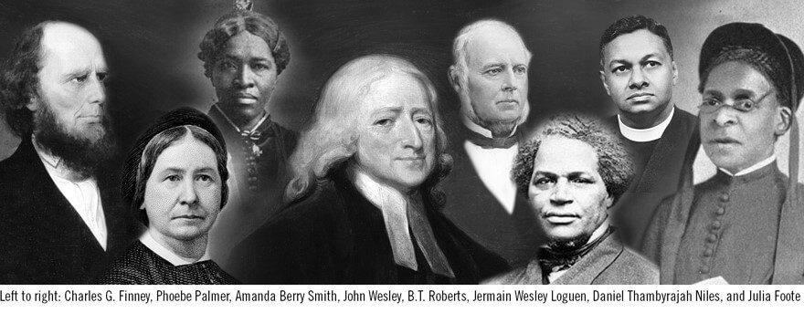 Wesleyan leaders left to right: Left to right: Charles G. Finney, Phoebe Palmer, Amanda Berry Smith, John Wesley, B.T. Roberts, Jermain Wesley Loguen, Daniel Thambyrajah Niles, and Julia Foote