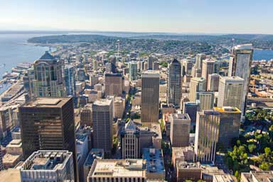 An arial view of downtown Seattle's cityscape