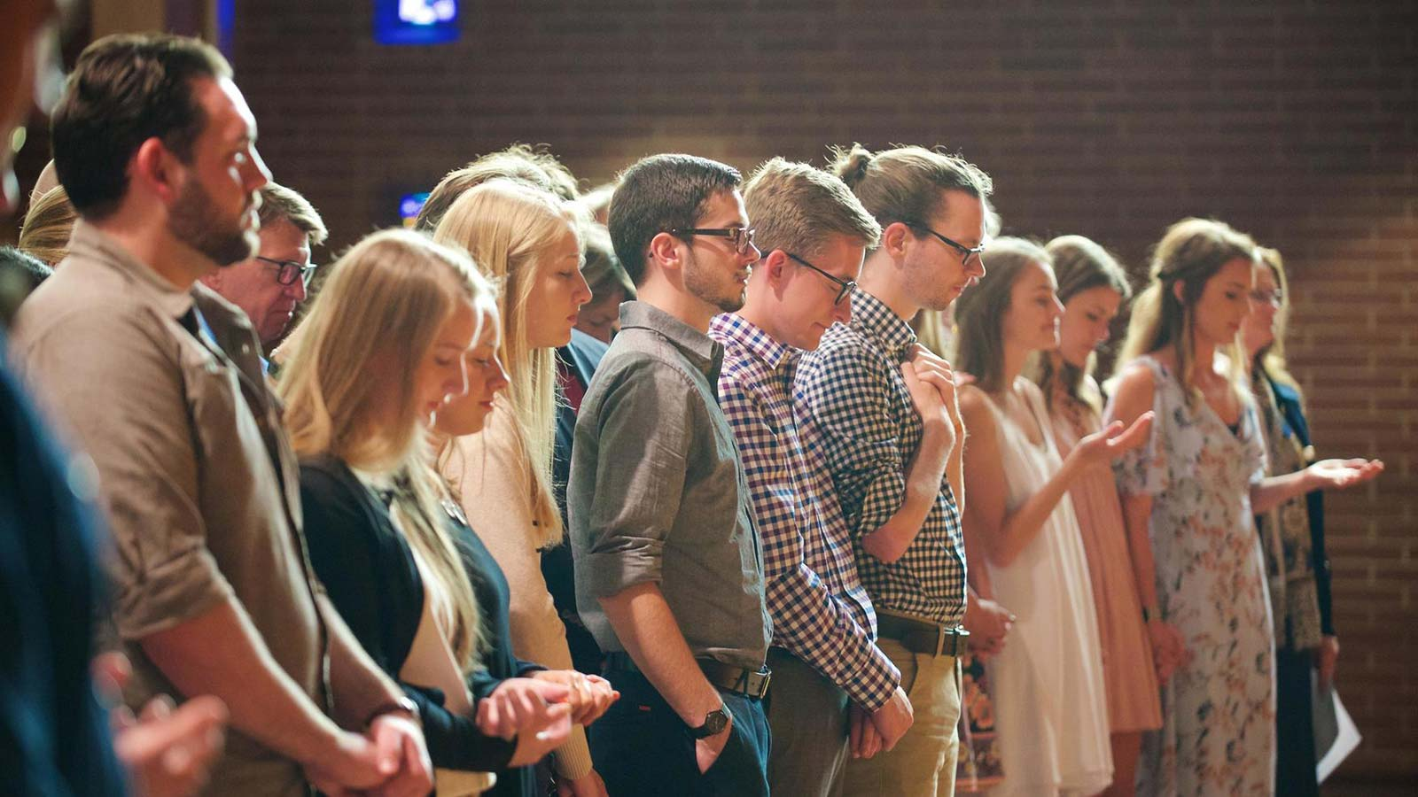 Students in a worship service